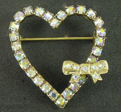 Vintage Rhinestone Heart With Bow