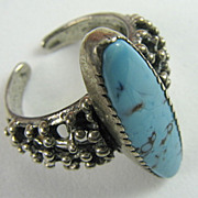 Vintage Beau Sterling and Turquoise Ring