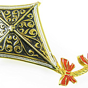 Vintage Toledo Spain Damascene kite Brooch