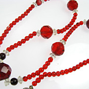 Vintage Red Crystal Necklace