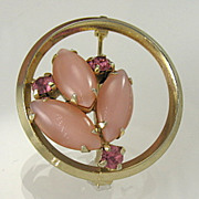Vintage Pink Moonglow Glass and Rhinestone Floral Brooch