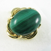 Vintage 14 Karat Solid Yellow Gold Malachite Ring