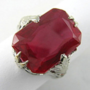 Antique 18 Karat Gold Synthetic Ruby Ring
