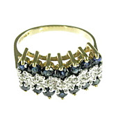 Vintage Natural Blue Sapphire and Diamond 14K Ring