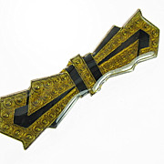 Vintage Gold and Black Enamel Bow-tie Brooch
