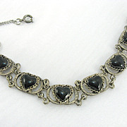 Vintage Nickel Silver Heart Black Enamel Heart Bracelet