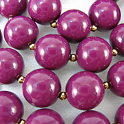 Vintage Lucite Long Single Strand Purple Color Necklace