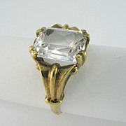 Vintage Art Deco Colorless Synthetic Spinel 10K Solid Gold Ladys Ring