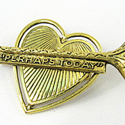 Vintage Heart and Horn with Inspirational Banner Brooch