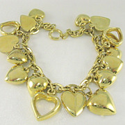 Vintage Gold Tone Heart Charm Bracelet - For Small Wrist