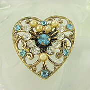 Early 1900s Brass Heart Pendant - Pin Paste, Imitation Seed Pearls Scroll Openwork Brooch