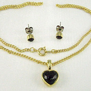 Vintage Garnet Rhinestone Set. Teen Jewelry. NIB. Heart Pendant. Pierced Earrings