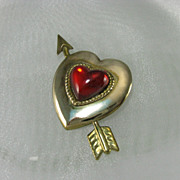 Vintage Red Lucite Heart. Gold Tone Heart Arrow Pin Brooch