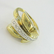 Art Deco 14K Yellow Gold Diamond Wedding Band Ring