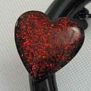 Vintage Black Enamel Open Circle Brooch Red Glitter Resin Heart