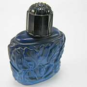 Art Nouveau Floral Cobalt Blue Glass Perfume Bottle
