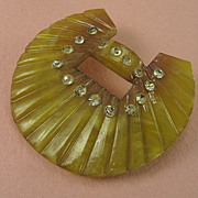 Art Deco Carved Celluloid Domed Crescent Rhinestone Pin Brooch