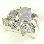 Vintage 14K White Gold Star Sapphire Diamond Ring