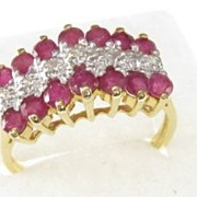 Vintage Natural Ruby Diamond Ring 10 Karat Gold