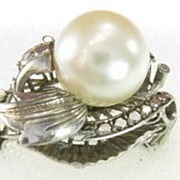 Vintage 10 Karat White Gold Large Cultured Pearl Ring
