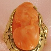 Antique 14 Karat Gold Natural Coral Cameo Ring