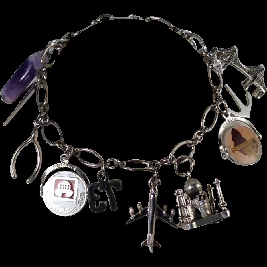 Good Luck Travel Sterling Silver 10 Charm Bracelet Flip