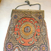 Vintage metal bead handbag purse rug design v bottom