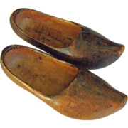 SALE French Souvenir Wooden Shoes C1918