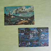 Post Cards -Pair of New England Scene based upon Artworks Circa 60s.