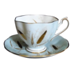 Queen Anne Bone China Cup with Saucer in Powder Blue and Gold Leaf Wheat Sprays C: 1950+