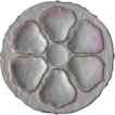 Oyster Plate with six wells and mauve and gold accents