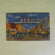 Postcard: Reno's Virginia Street 1930s/40s on linen stock