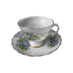 Royal Seagrave footed and scalloped cup and saucer with forget-me-nots