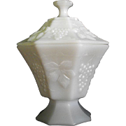 Anchor Hocking Milk Glass Candy in Grape pattern Circa: 1960s