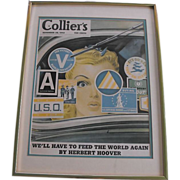 Framed Collier's Magazine Cover Circa 1942