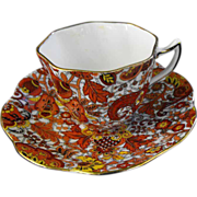 Rosina: Demitasse Cup and Saucer: Brown Paisley