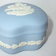 Wedgwood Blue Jasperware Crescent Trinket box