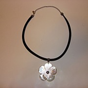 Vintage Sterling-Leather And Mother Of Pearl Necklace