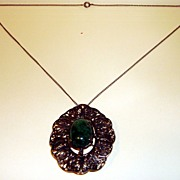 Vintage Filigree Brooch-Pendant With Malachite Cabochon And Chain