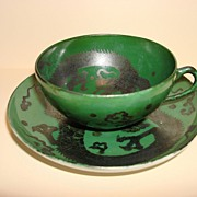 Vintage Stunning Oriental Dragon Artwork On Dark Green Cup & Saucer