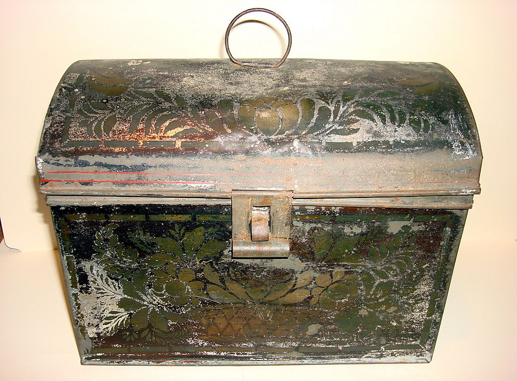 Antique Painted Tin Document Box Toleware