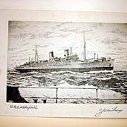 WW II U.S.S. Wakefield Etching Signed By The Artist And By Ten LT. Col. Capt. Of The U.S.M.C &