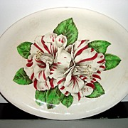 "Vintage Genuine Hand Engraving ""Camellia"" On Oval Plate Johnson Bros. England"