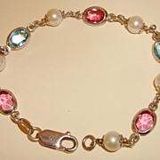Vintage Sterling Bracelet With Crystals And Cultured Pearls