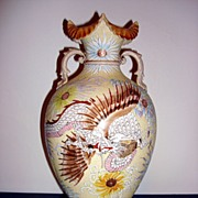 REDUCED Spectacular 19th Century Enamel Moriage Dragon And Phoenix Bird Japanese Vase
