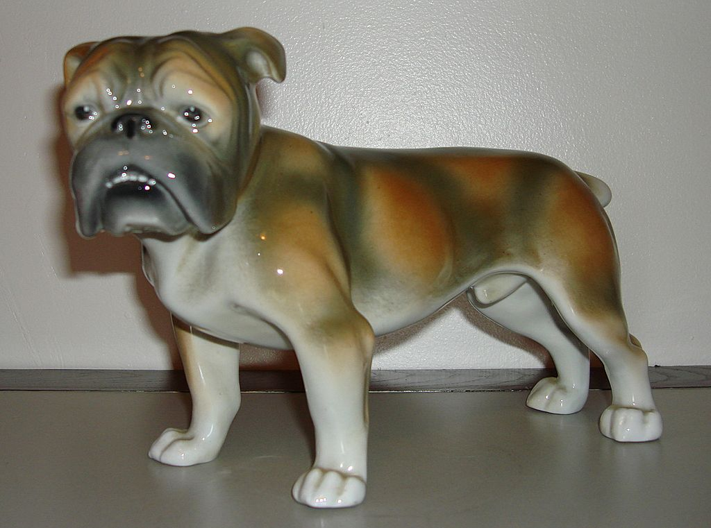 Vintage German Porcelain Bull Dog Figurine