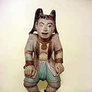 REDUCED Late 18th Century Hand Carved Oriental Wooden Statue