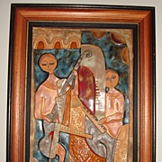 Vintage Framed Ceramic Tile OF A Cello & Piano Player In Picasso Style - Signed Ruth F.