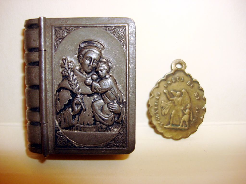 Vintage Miniature Metal Bible Box With A Guardian Angel Medal