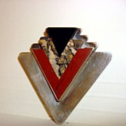 Vintage Geometrical Sterling Brooch With Stones Inlay